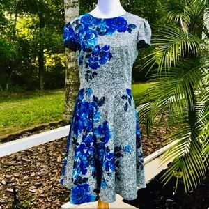 Betsy Johnson black, white and blue floral dress